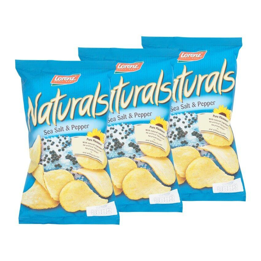 LORENZ NATURALS ลอเรนซ์ เนเชอรัลส์ มันฝรั่งแผ่นเรียบอบกรอบ รสซีซอลท์เปปเปอร์ 100 กรัม (แ ...