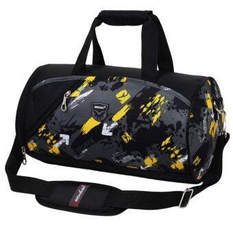 LT365 Large Capacity Waterproof Nylon Cylinder Tote Handbag Crossbody Bag Travel Bag Gym Sports Bag (Black)