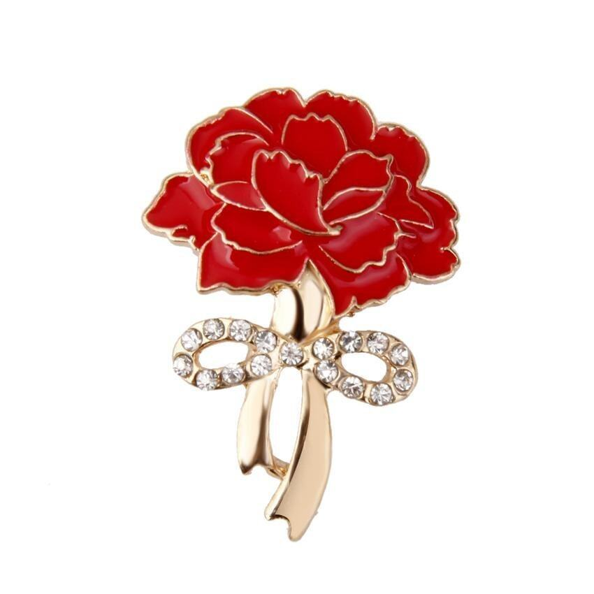 M&C Wedding Crystal Red Carnation Broach Flower Brooch Pin Mothers Day Gift - intl