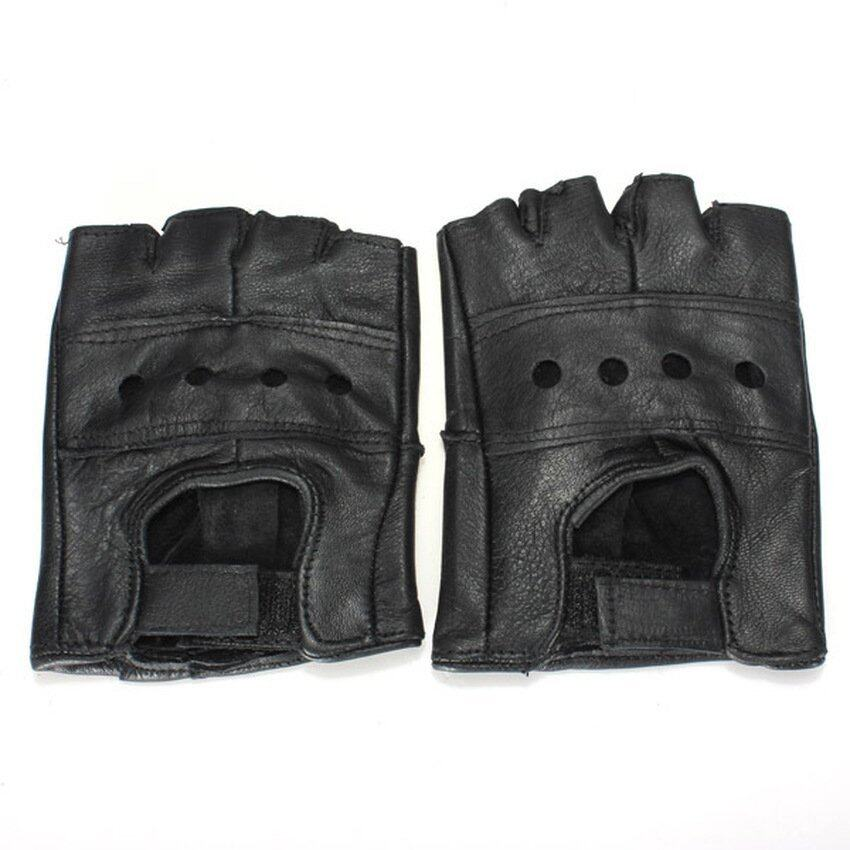 MEGA M Black Half Finger Leather Gloves Cattlehide Motorcycle Bicycle Bike Durable (Intl)