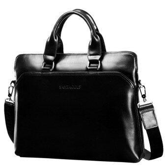 Men Leather Briefcase Business Laptop Tote Bag Messenger Travel Crossbody Shoulder Bag Black