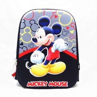 Mickey Mouse กระเป๋าเป้สะพายหลัง กระเป๋านักเรียน สีดำลายมิกกี้ตัวนูน