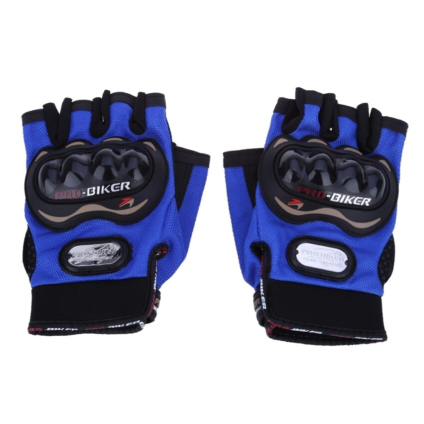 MiniCar Paired Half-finger Motorcycle Gloves Motorbike Outdoor Sports Riding Breathable Protective Gears Blue size:XL(Color:Blue) - intl