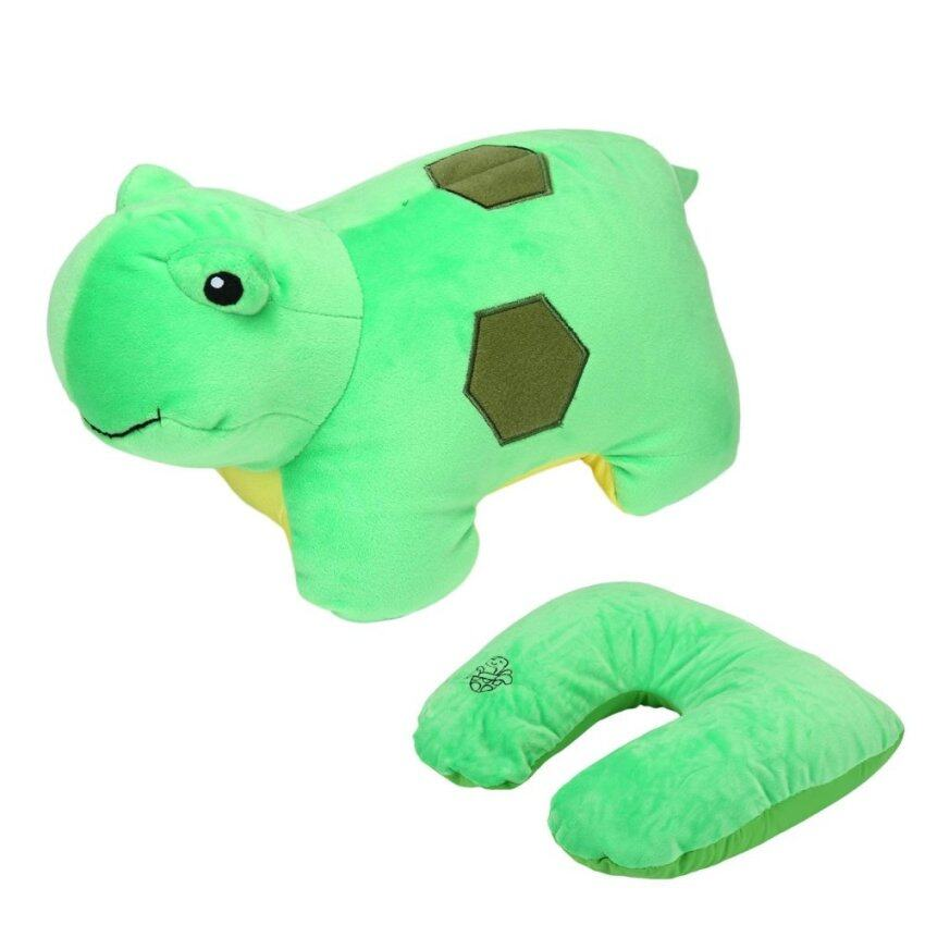 moob Travel Pillow Convertible 2-in-1 Adorable Travel Companion U-Shaped Pillow,Green Turtle - intl