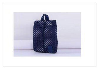 Mori กระเป๋าจัดระเบียบ กระเป๋าใส่รองเท้า ถุงใส่รองเท้า 1 คู่ Shoe pouch Shoe Bag Shoes Organizer Bag Organizer (จุดขาวพื้นน้ำเงิน / Navy Blue with white polka dot)