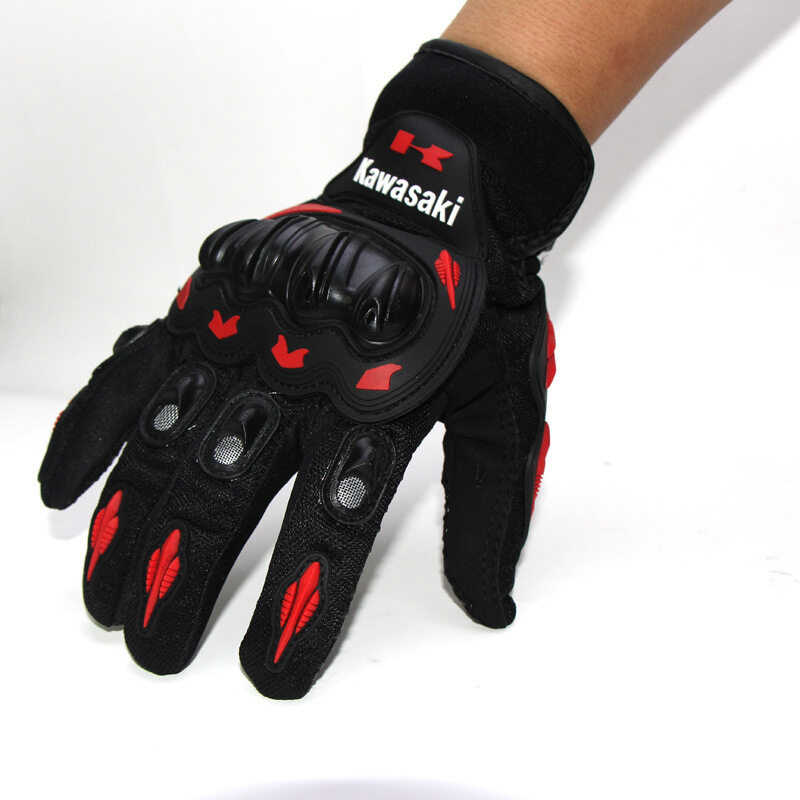 Motorcycle Gloves Full Finger Knight Riding Gloves Summer Mesh Racing Glove BLACK RED (SIZE: M) - intl