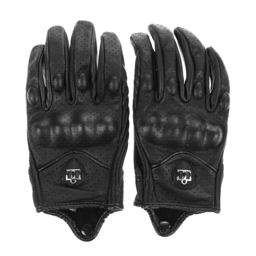 Motorcycle Riding Protective Armor Black Short Leather Gloves M L XL - intl
