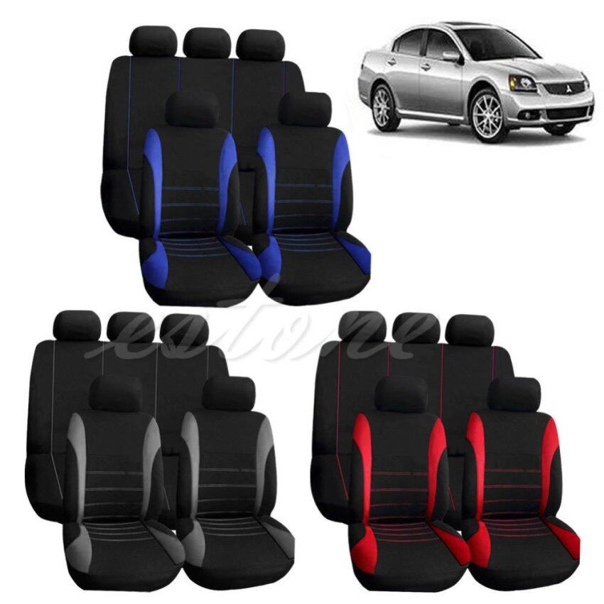 New Car Seat Covers Red Set for Auto w/Steering Wheel/Belt Pad/Head Rests 9 part (Grey Black) - intl ...
