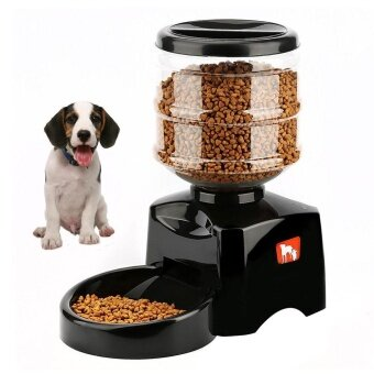 niceEshop New 5.5L Automatic Pet Feeder With Voice Message Recording And LCD Screen Large Smart Dogs Cats Food Bowl Dispenser Black - intl