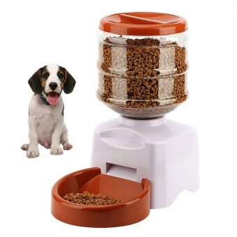 niceEshop New 5.5L Automatic Pet Feeder With Voice Message Recording And LCD Screen Large Smart Dogs Cats Food Bowl Dispenser , White - intl