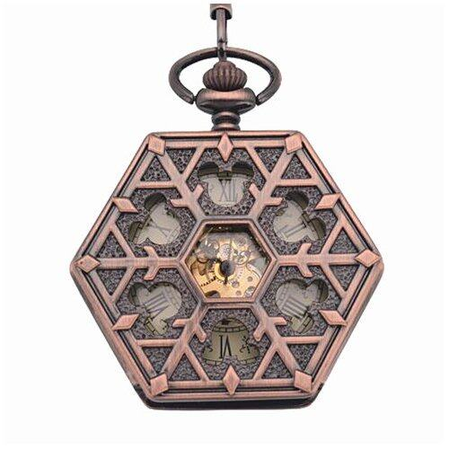 ooplm Antique red bronze Hexagonal automatic pendant fob watch retro pocket watch keycha ...