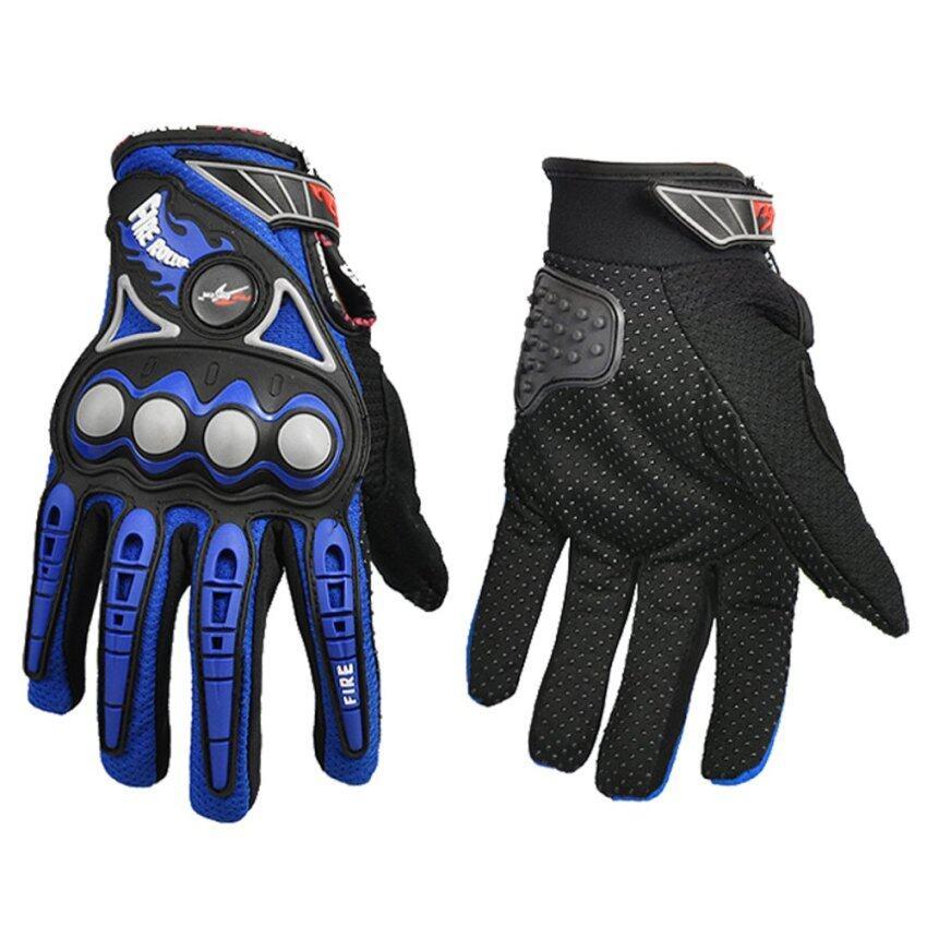 Otzi ถุงมือขี่มอเตอร์ไซค์ ชุดป้องกัน นิรภัยเต็มนิ้ว รถจักรยานยนต์ บิ๊กไบค์ สีน้ำเงิน