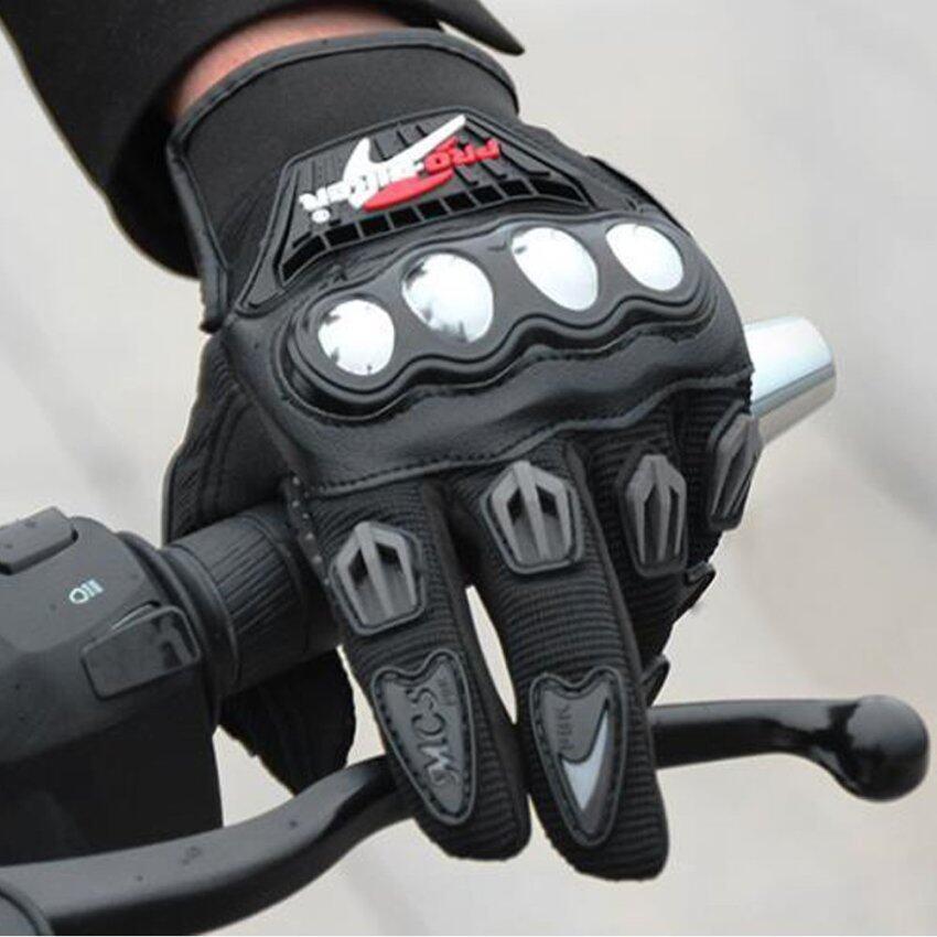 Otzi ถุงมือขี่มอเตอร์ไซค์ ชุดป้องกัน นิรภัยเต็มนิ้ว รถจักรยานยนต์ บิ๊กไบค์ สีดำ