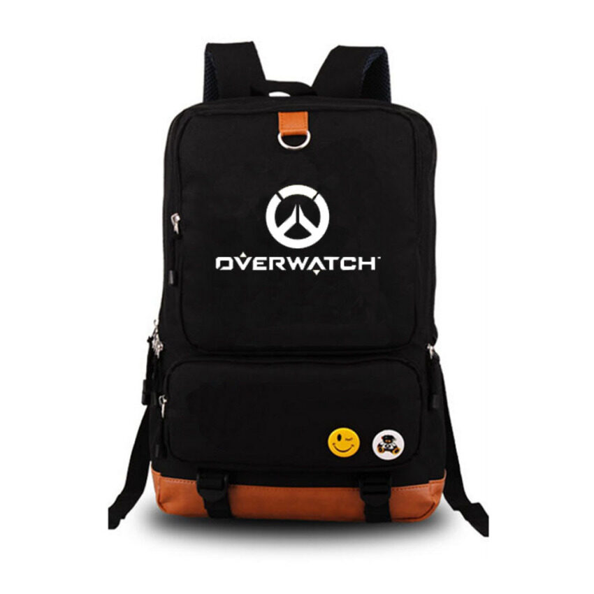Overwatch Noctilucent Laptop Backpack Canvas Bag Hiking Daypacks Shoulder Bags(Black)