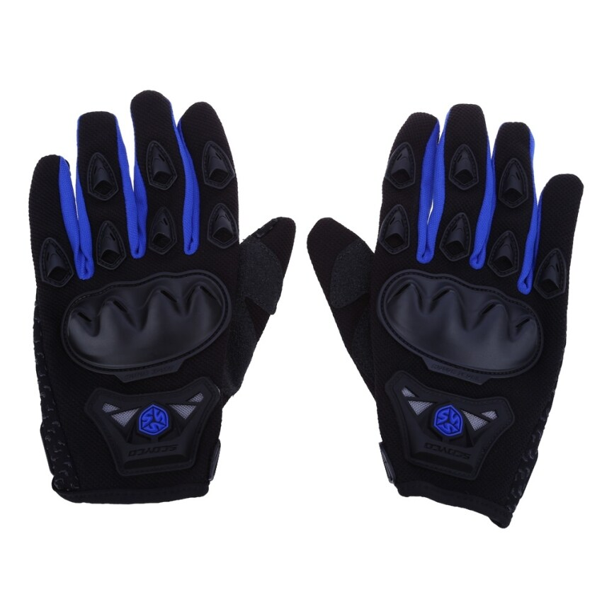 Paired Full Finger Motorcycle Gloves Motorbike Motocross Breathable Protective Gears - XL (Blue)