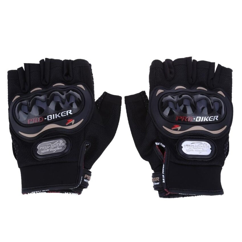 Paired Half-finger Motorcycle Gloves Motorbike Outdoor Sports Riding Breathable Protective Gears - intl