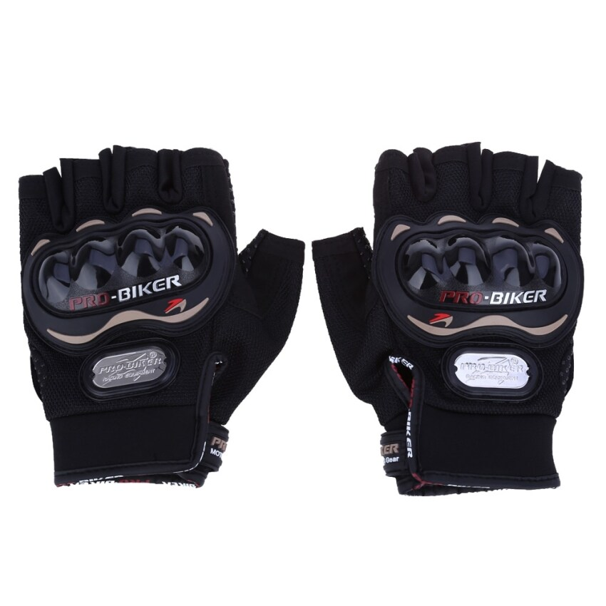 Paired Half-finger Motorcycle Gloves Motorbike Outdoor Sports Riding Breathable Protective Gears - XL (Black)