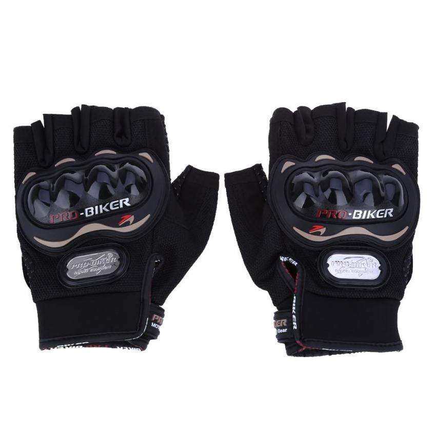 Paired Half-finger Motorcycle Gloves Motorbike Outdoor Sports Riding Breathable Protective Gears(BLACK)(Size:M?)(...) - intl