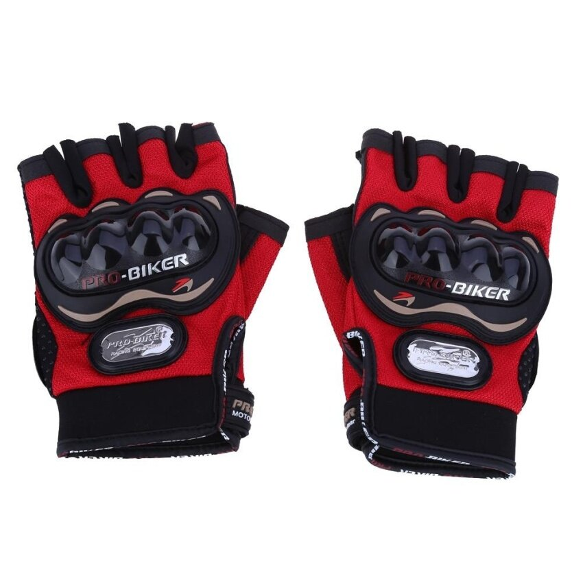 Paired Half-finger Motorcycle Gloves Motorbike Outdoor Sports Riding Breathable Protective Gears(RED)(Size:M?)(...) - intl