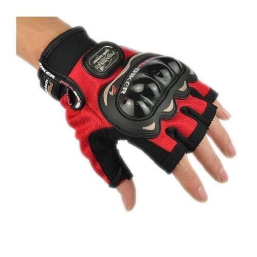 ถุงมือมอเตอร์ไซค์ ครึ่งนิ้ว แดง