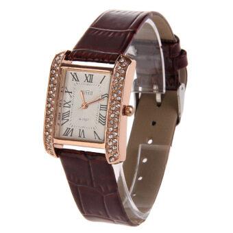 นาฬิกาสายหนัง Pu ผู้หญิงใบหน้ารูปสี่เหลี่ยมจัตุรัสเพชรประดับนาฬิกาเจือสีน้ำตาล