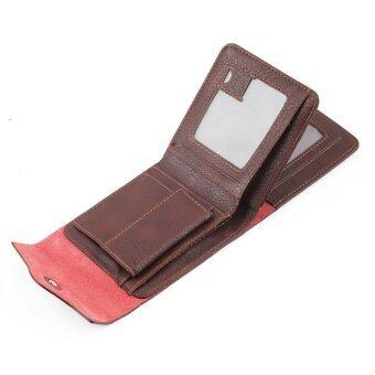 กระเป๋าสตางค์ของผู้ชายร้อนพับครึ่งหนัง Pu บัตร/ที่เก็บบัตรเงินบัตรของขวัญเล็กสีน้ำตาล