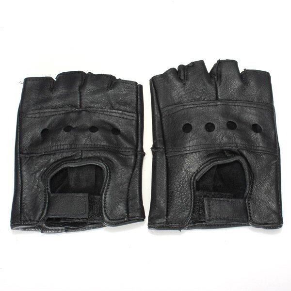 Qiaosha M Black Half Finger Leather Gloves Cattlehide Motorcycle Bicycle