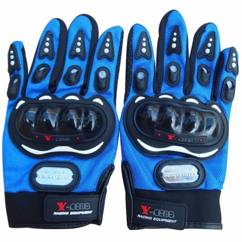 ขาย Racing ถุงมือมอเตอร์ไซค์ ถุงมือขี่มอเตอร์ไซค์ ถุงมือหนัง เต็มนิ้ว มีเกราะ Size L [สีน้ำเงิน]