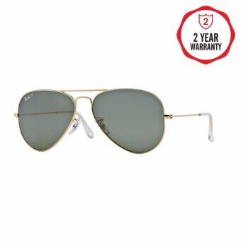 Ray-Ban แว่นกันแดด รุ่น Aviator Large Metal RB3025 - Matte Gold (112/4D) Size 58 Brown Mirror Red Polar