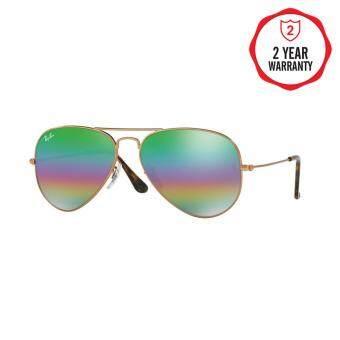 Ray-Ban แว่นกันแดด รุ่น Aviator Large Metal RB3025 - Metallic Dark Bronze (9019C2) Size 58 Light Grey Mirror Rainbow 2