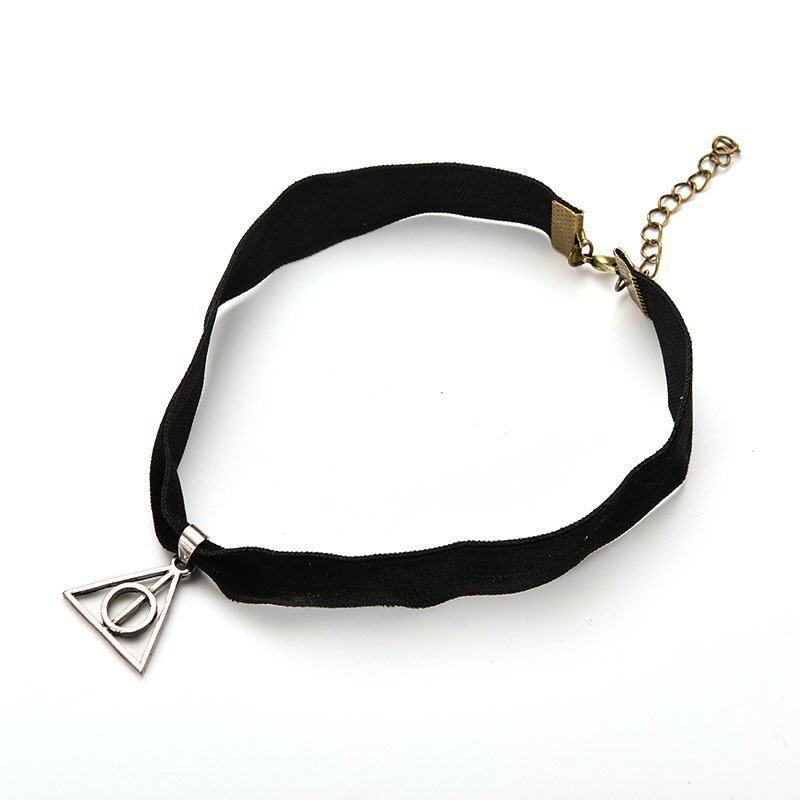 Retro Boho Tibetan Silver Black Gothic Velvet Cord Choker Charm Necklace Harry potter - intl