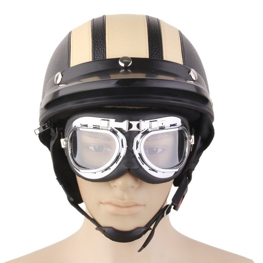 RIS Motorcycle Motorbike Open Face Helmet Visor with Goggles - Yellow