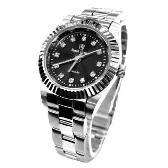 Royal Crown นาฬิกาข้อมือหญิง สายสแตนเลสอย่างดี รุ่น 3662L (Black/Silver)