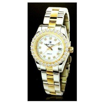 Royal Crown นาฬิกาข้อมือสุภาพสตรี ประดับเพชร cz อย่างดี สายสแตนเลส รุ่น 3662L-CZ (Gold/Silver)