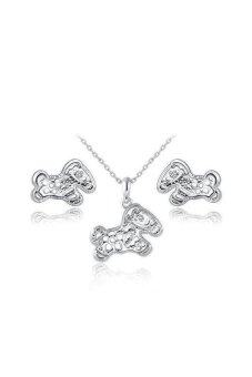 S & F SF61339655963Ai White Gold Plated Horse Pendant and Stud Earrings Jewelry Set White