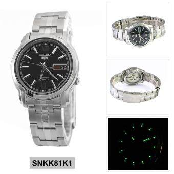 Seiko Watch 5 Automatic Silver Stainless-Steel Case Stainless-Steel Bracelet Mens Japan NWT + Warranty SNKK81K1