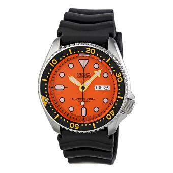 Seiko Watch Automatic Diver's Black Stainless-Steel Case Rubber Strap Mens JAPAN NWT + Warranty SKX011J1