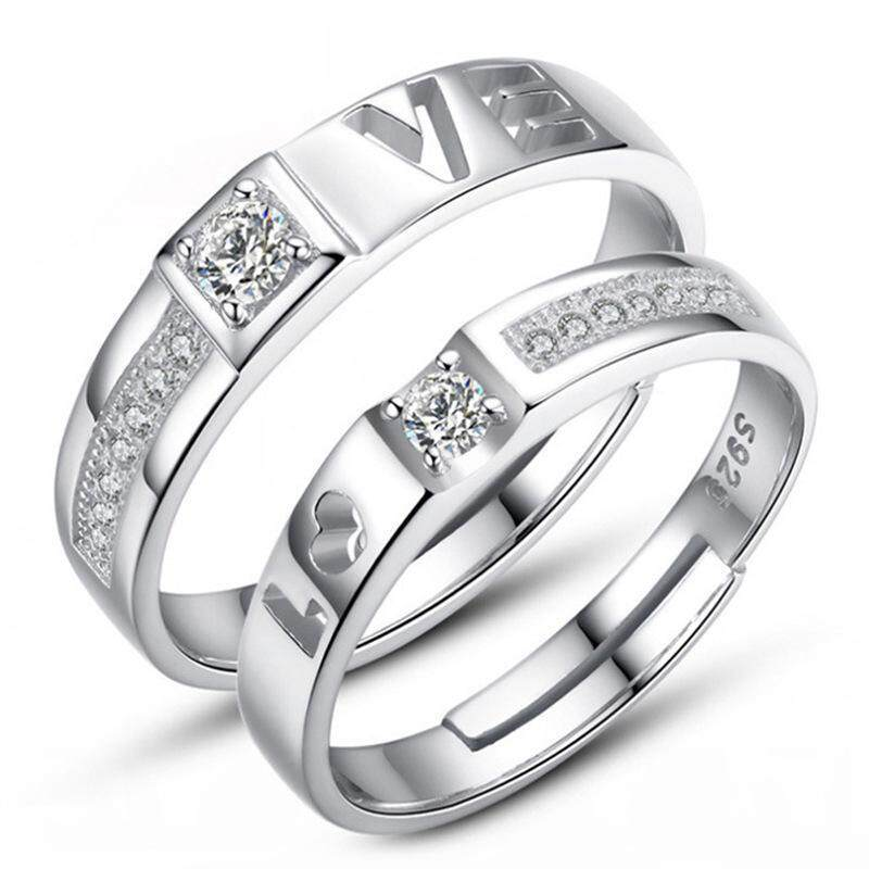 Silver Adjustable Couple Rings Jewelry Affectionate Lovers Rings E027 - intl ...