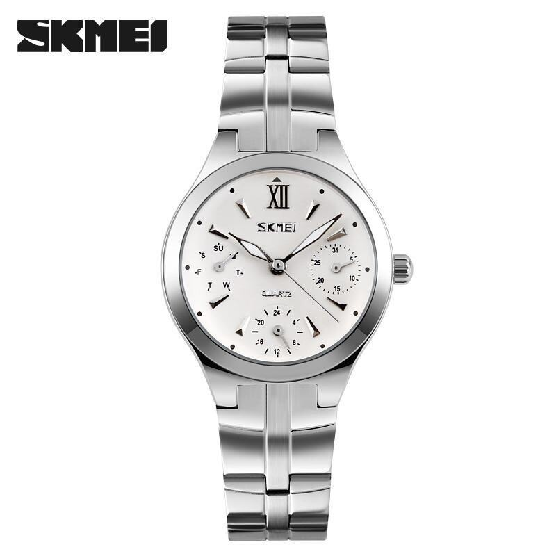 Skimei Fashion Ladies Stainless Steel Waterproof Quartz Watch 30 Meters Waterproof Watch 9132 -Silver - intl