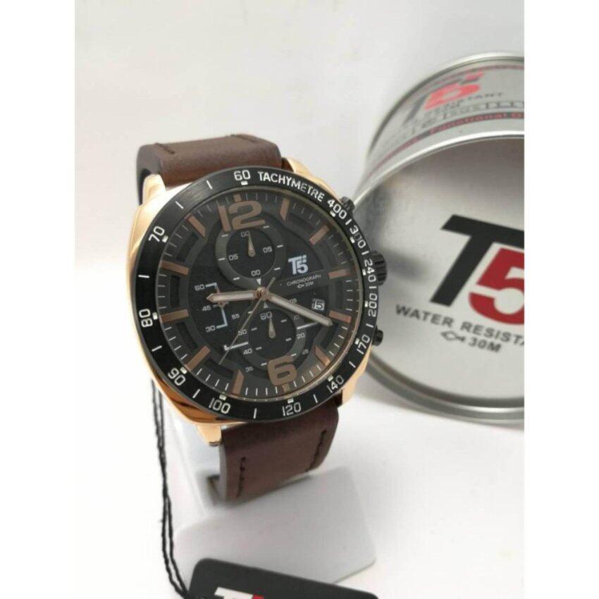 T5 Chronograph Sports Watch นาฬิกาข้อมือผู้ชาย สายหนังแท้ ระบบโครโนกราฟ กันน้ำ100% วันที่-สัปดาห์ และเวลา 24Hr รุ่น H3492G (น้ำตาล)