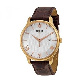 Tissot T0636103603800 Tradition Leather Mens Watch - Silver Dial - intl
