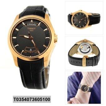 Tissot Watch Couturier Black Stainless-Steel Case Leather Strap Mens NWT + Warranty T0354073605100
