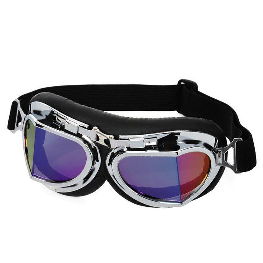 UJS Folding Glasses Goggle for Motorcycle Rider Eye Protection - Black + Silver (Intl)