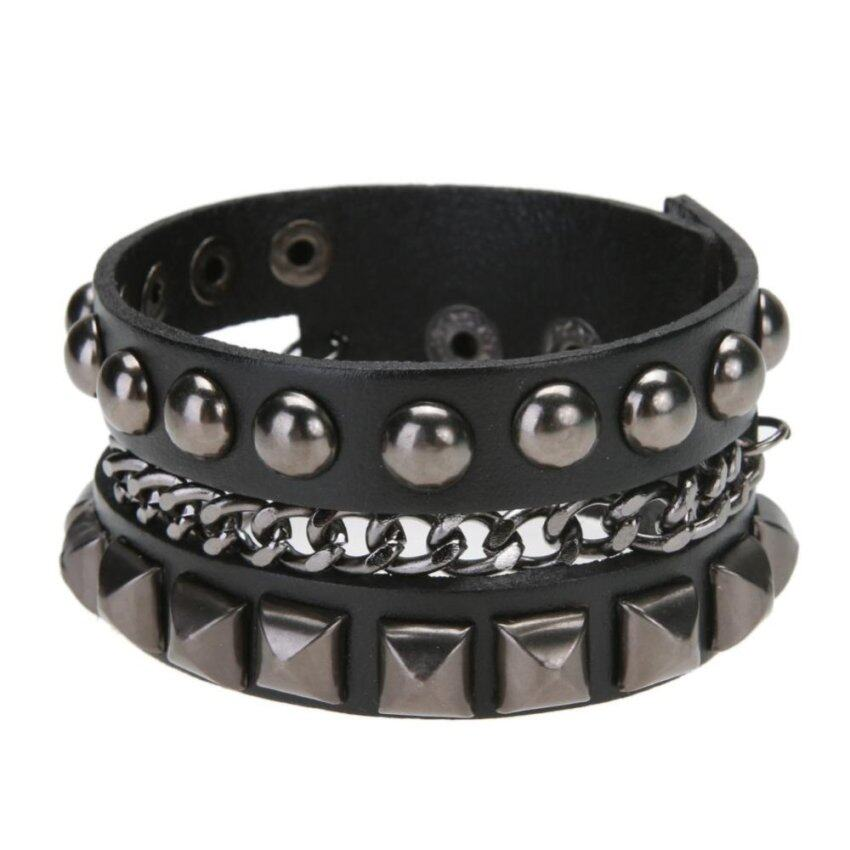 Unisex European Chic Punk Wide Cowhide Alloy Travel Gift Bracelet (Black) - intl ...