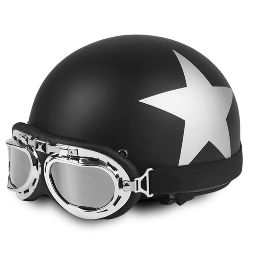 USTORE Star Pattern Open Face Half Helmet for 54-59cm Head Circumference with Goggles Black - intl