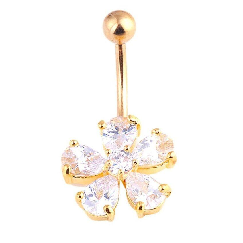 Vanker 5 Petals Flower Rhinestone Body Piercing Barbell Belly Button Navel Ring Jewelry ...