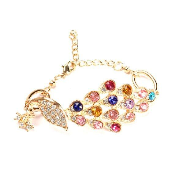 Vintage Gold Colorful Crystal Rhinestone Peacock Bracelet Bangle Hand Chain ...