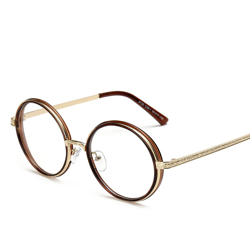 Vintage Inspired Fashion Eyeglasses Frame Round Circle Clear Lens Unisex Eyelasses(brown)