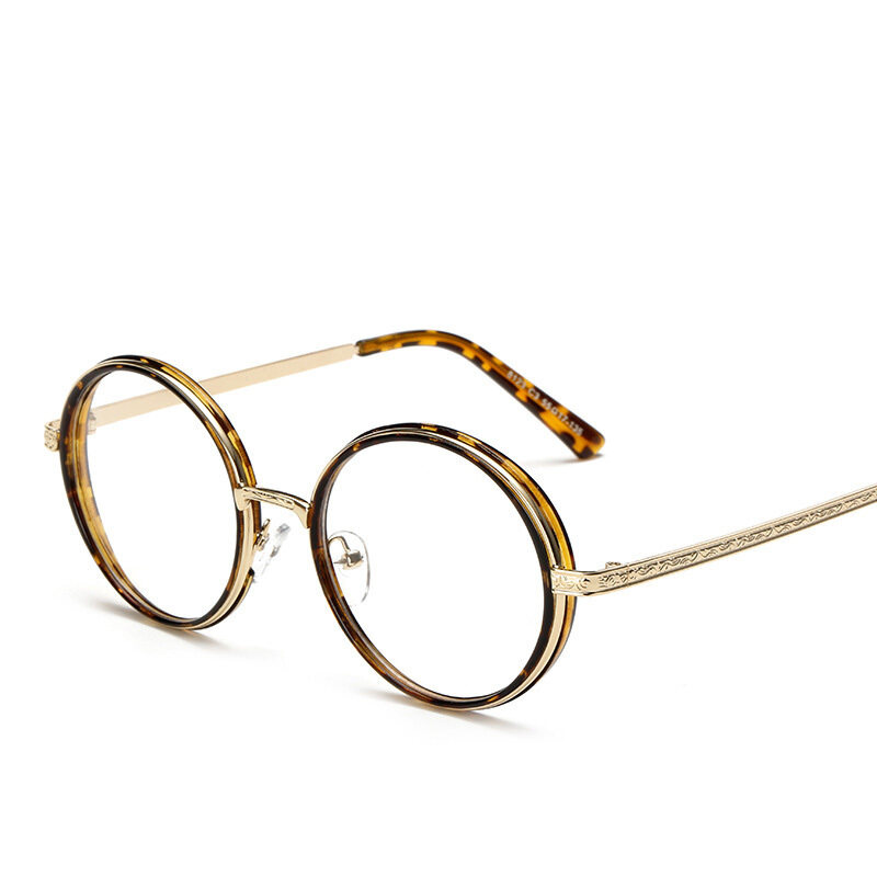 Vintage Inspired Fashion Eyeglasses Frame Round Circle Clear Lens Unisex Eyelasses(decorative pattern)