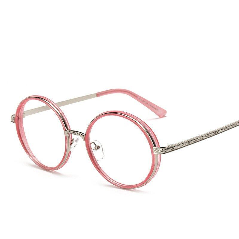 Vintage Inspired Fashion Eyeglasses Frame Round Circle Clear Lens Unisex Eyelasses(pink) ...